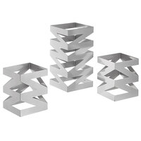 Front of the House BRI006BCI28 Zig Zag 3-Piece Stainless Steel Rectangular Riser Set