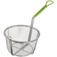Carlisle 601028 8 3/4 inch Round Chrome-Plated Nickel Steel Medium Mesh Culinary Basket with Green Cool Touch Handle