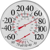 Taylor 497J 12 inch Dial Indoor / Outdoor Wall Thermometer with Hygrometer