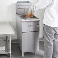 Main Street Equipment Natural Gas 50 lb. Stainless Steel Floor Fryer - 120,000 BTU