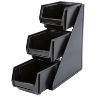 Vollrath 4842-06 Traex® Black Self-Serve Condiment Bin Stand Set with 3-Tier Stand and 8 inch Condiment Bins