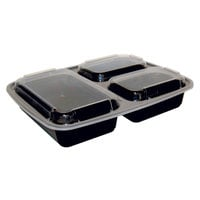 Pactiv Newspring NC333B Black 32 oz. VERSAtainer 3 Compartment 7 1/2 inch x 9 7/8 inch x 1 3/4 inch Rectangular Microwavable Container with Lid - 150/Case