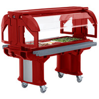 Cambro VBRHD6158 Hot Red 6' Versa Food / Salad Bar with Heavy-Duty Casters