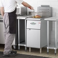 Main Street Equipment Natural Gas 40 lb. Stainless Steel Floor Fryer - 90,000 BTU