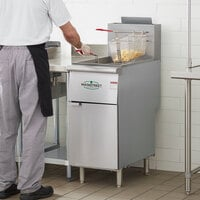 Main Street Equipment Liquid Propane 40 lb. Stainless Steel Floor Fryer - 90,000 BTU
