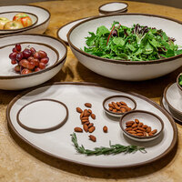 GET B-310-CRM Pottery Market 1.5 Qt. Glazed Cream Melamine Salad Bowl with Brown Trim - 12/Case