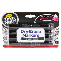 Crayola 586542 Take Note 4-Count Black Chisel Tip Dry Erase Markers