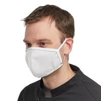 Mercer Culinary M69010WH Customizable White Reusable Non-Woven Polypropylene Anatomical Protective Face Mask - 8 1/2 inch x 5 1/4 inch