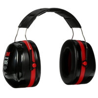 3M H10A PELTOR™ Optime™ 105 Black / Red Over-the-Head Earmuffs