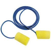 3M 311-4101 E-A-R™ Classic™ Yellow / Blue Metal Detectable Corded Foam Earplugs - 200/Pack