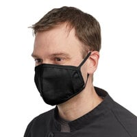 Mercer Culinary M69010BK Customizable Black Reusable Non-Woven Polypropylene Anatomical Protective Face Mask - 8 1/2 inch x 5 1/4 inch
