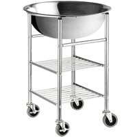 Choice 30 Qt. Standard Weight Stainless Steel Mixing Bowl and Stand with Locking Casters