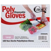 Choice Disposable Poly Gloves - Large for Food Service - 100/Pack