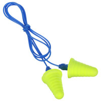 3M 318-1009 E-A-R™ Push-Ins™ Yellow / Blue Corded Foam Earplugs with Grip Rings - 200/Pack