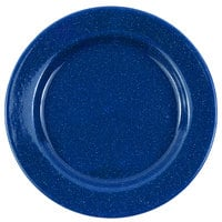 Crow Canyon Home K20MBU Stinson 10 1/4 inch Medium Blue Speckle Wide Rim Enamelware Plate