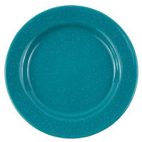 Crow Canyon Home K20TUR Stinson 10 1/4 inch Turquoise Speckle Wide Rim Enamelware Plate