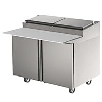 Delfield 4448RP 48 inch Two Door Refrigerated Pizza Prep Table with Raised Rail