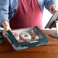 11 1/2 inch x 8 inch x 2 inch Auto-Popup Window Cake / Bakery / Donut Box with Fresh Print Design - 15/Pack