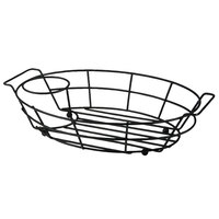 Vollrath WB-8007-06 7 1/8 inch x 10 1/2 inch Black Oval Wire Basket with Ramekin Holder
