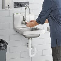 Regency 12 inch x 16 inch Wall Mounted Hand Sink for Hands-Free Faucet