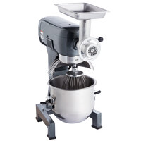 Avantco MX20MGKIT 20 Qt. Gear-Driven Commercial Planetary Stand Mixer with Guard and Meat Grinder Attachment - 120V, 1 1/2 hp
