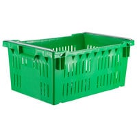 Orbis AF2416-10 Stack-N-Nest Green Agricultural Vented Crate with Bail- 24 inch x 16 inch x 10 3/16 inch