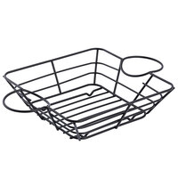 Tablecraft H711172BK Meranda Collection 11 inch x 7 inch x 2 inch Square Black Powder Coated Wire Basket with Ramekin Holders
