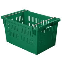 Orbis AF2416-13 Stack-N-Nest Green Agricultural Vented Crate with Bail - 24 inch x 16 inch x 13 3/16 inch