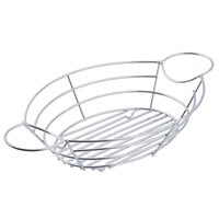 Tablecraft H711372 Meranda Collection 13 inch x 7 inch x 2 inch Oval Heavy Weight Chrome-Plated Wire Basket with Ramekin Holders
