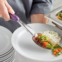 Vollrath 6414280 Jacob's Pride 13 13/16 inch Heavy-Duty Perforated Basting Spoon with Purple Ergo Grip Handle