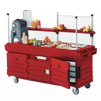 Cambro KVC856158 CamKiosk Hot Red Vending Cart with 6 Pan Wells