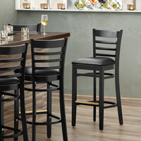 Lancaster Table & Seating Black Ladder Back Bar Height Chair with Black Padded Seat - Detached Seat