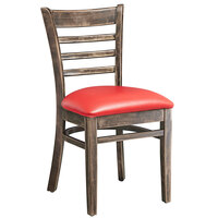 Lancaster Table & Seating Vintage Finish Wooden Ladder Back Chair with 2 1/2 inch Red Padded Seat - Detached Seat