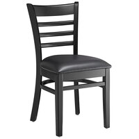 Lancaster Table & Seating Black Finish Wooden Ladder Back Chair with 2 1/2 inch Black Padded Seat - Detached Seat