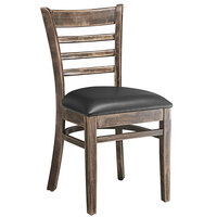 Lancaster Table & Seating Vintage Finish Wooden Ladder Back Chair with 2 1/2 inch Black Padded Seat - Detached Seat