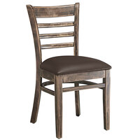 Lancaster Table & Seating Vintage Finish Wooden Ladder Back Chair with 2 1/2 inch Dark Brown Padded Seat - Detached Seat