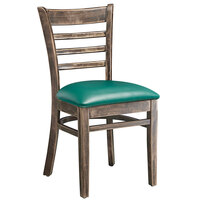 Lancaster Table & Seating Vintage Finish Wooden Ladder Back Chair with 2 1/2 inch Green Padded Seat - Detached Seat