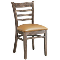 Lancaster Table & Seating Vintage Finish Wooden Ladder Back Chair with 2 1/2 inch Light Brown Padded Seat - Detached Seat