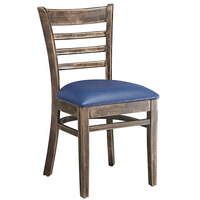 Lancaster Table & Seating Vintage Finish Wooden Ladder Back Chair with 2 1/2 inch Navy Padded Seat - Detached Seat