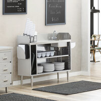 Regency 48 inch Stainless Steel Bussing / Waitress Station with Pan Holder and Sink Bowl