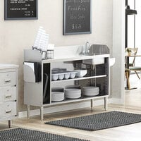 Regency 60 inch Stainless Steel Bussing / Waitress Station with Pan Holder and Sink Bowl