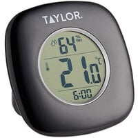 Taylor 1745BK 4 inch Digital Indoor Thermometer and Hygrometer with Clock