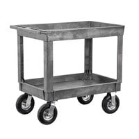 Lakeside 2523P Plastic Deep Well Two Shelf Utility Cart with Pneumatic Casters - 40 inch x 25 1/2 inch x 32 3/4 inch