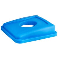 Lavex Janitorial 19 / 23 Gallon Blue Square Recycle Bin Lid with Bottle / Can Hole