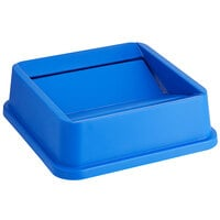 Lavex Janitorial 19 / 23 Gallon Blue Square Trash Can Swing Lid