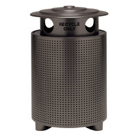 Wabash Valley TE3S31P Urbanscape 32 Gallon Portable Square Perforated Powder Coated Steel Outdoor Trash Receptacle with Recycle Bonnet Lid and Liner