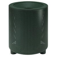 Wabash Valley TE3F31P Urbanscape 32 Gallon Portable Square Perforated Powder Coated Steel Outdoor Trash Receptacle with Flat Top Lid and Liner