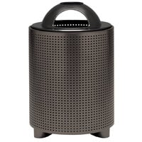 Wabash Valley TE3C31P Urbanscape 32 Gallon Portable Square Perforated Powder Coated Steel Outdoor Trash Receptacle with Open Ash Tray Dome Lid and Liner