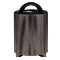 Wabash Valley TE3D31P Urbanscape 32 Gallon Portable Square Perforated Powder Coated Steel Outdoor Trash Receptacle with Open Dome Lid and Liner