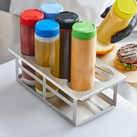 Tablecraft SQH8 Stainless Steel Eight Hole Squeeze Bottle Holder